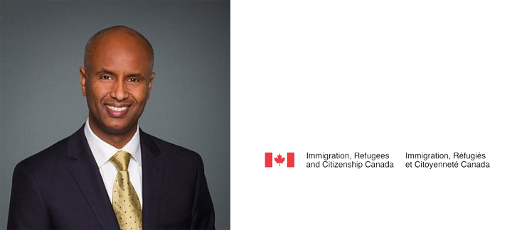 Image of Ahmed Hussen and Immigration, Refugees and Citizenship logo
