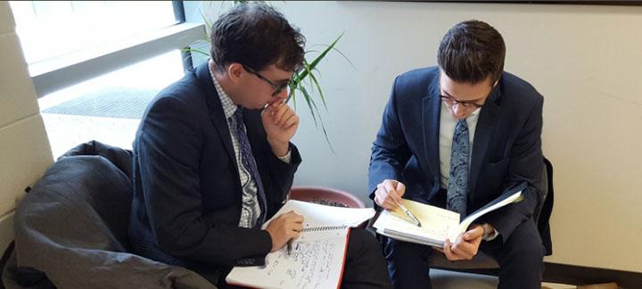 Lucas Kokot and Brendan Sheehan, preparing for the competition
