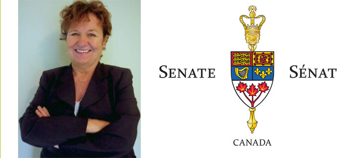 Photo of Yvonne Boyer and Senate of Canada Logo