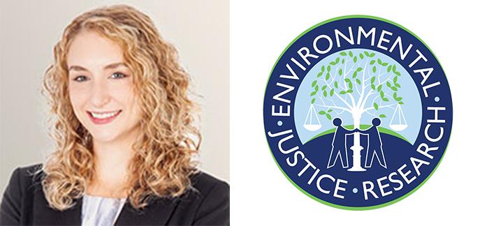 Photo de Danielle Gallant et le logo de la recherche en justice environnementale.