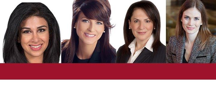 Goldie Ghamari (J.D. 2012), Amanda Simard (J.D. 2013), Effie Triantafilopoulos (LL.B. 1976) and Lindsey Park (J.D. 2013)