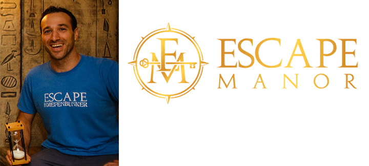 Neil Schwartz et le logo de la Escape Manor