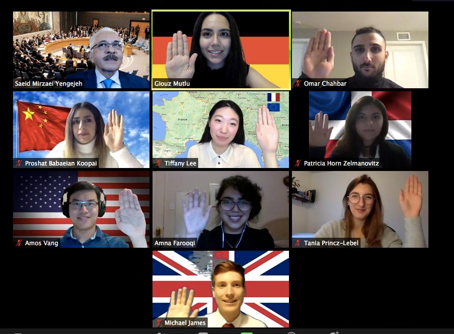 Impression de l'écran d'une réunion Zoom avec les étudiants qui votent sur la motion