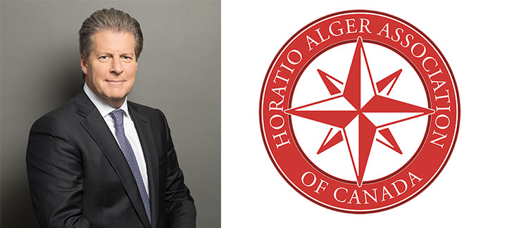 Photo de Jay Hennick et du logo de l'association Horatio Alger Canada