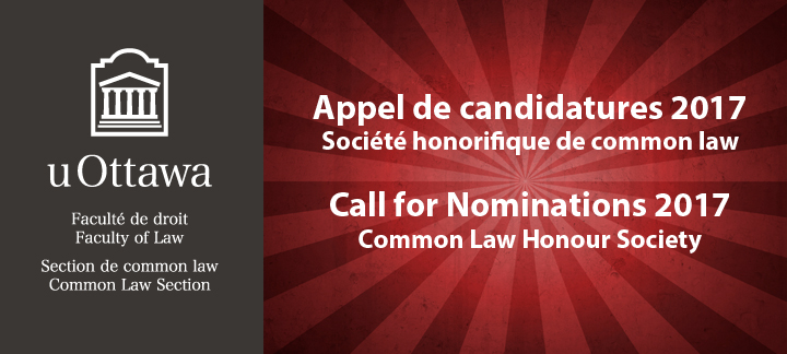 Common Law Honour Society Call for Nominations 2017