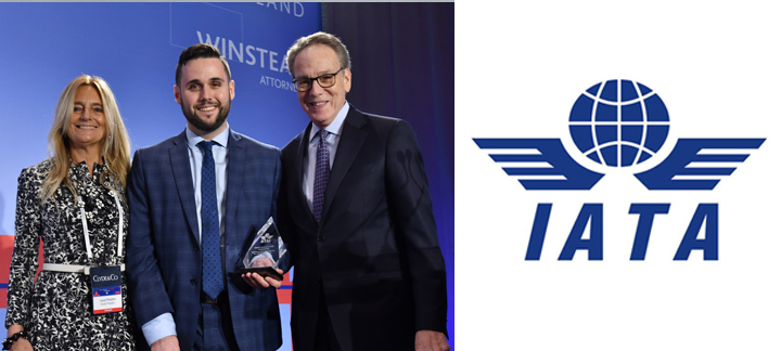 René David-Cooper receiving the Constance O'Keefe Award and IATA Logo