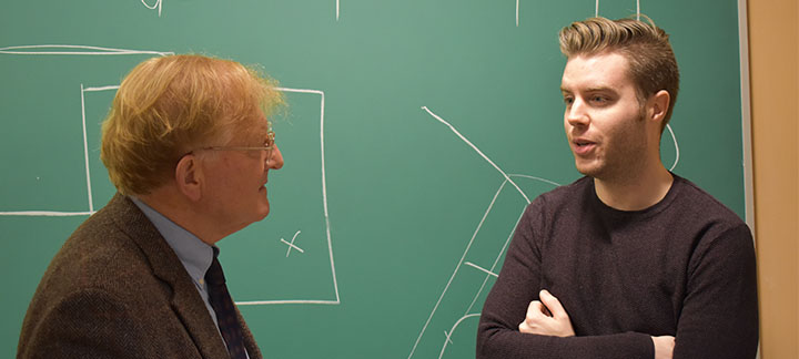 Photo of student Kent Evans and Professor Thomas Cottier