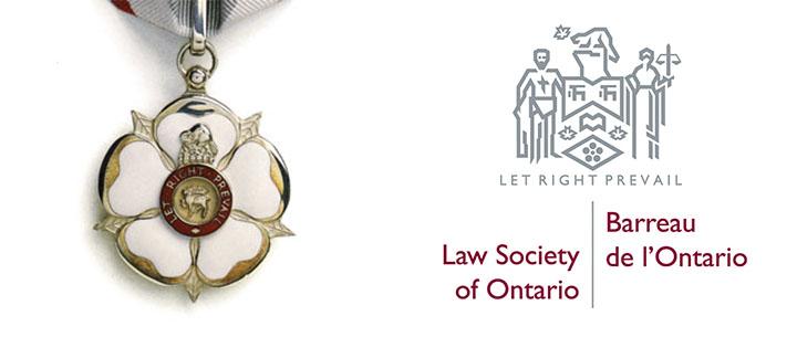 Médaille et logo du Barreau de l'Ontario