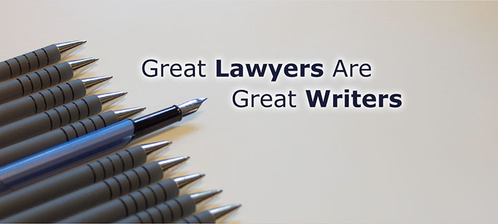 An image  of  ten plain pens and one fancy pen pointing to the Legal Writing Academy's slogan, Great Lawyers are Great Writers.