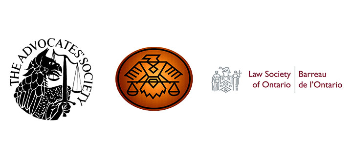 Logos of The Advocates' Society, The Indigenous Bar Association and The Law Society of Ontario