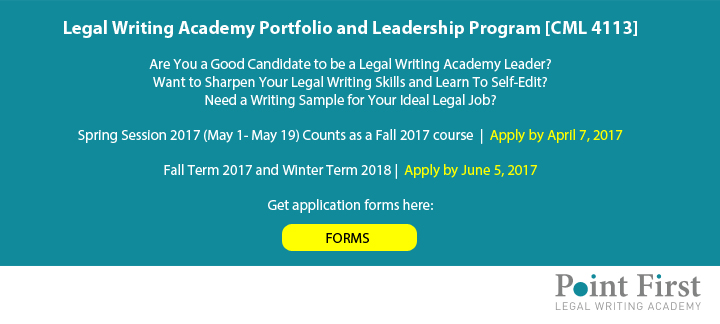 Legal Writing Academy Portfolio and Leadership Program [CML4113]