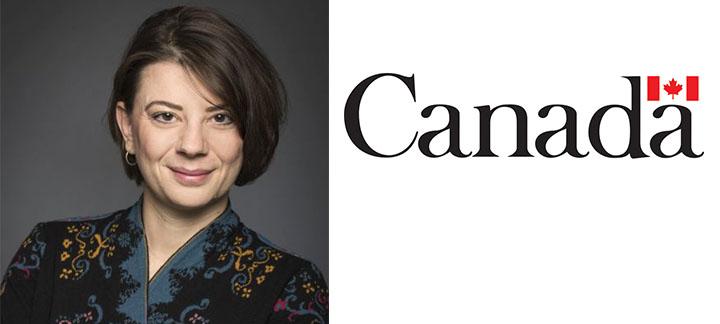 Marina Pavlovic et le logo du gouvernement du Canada