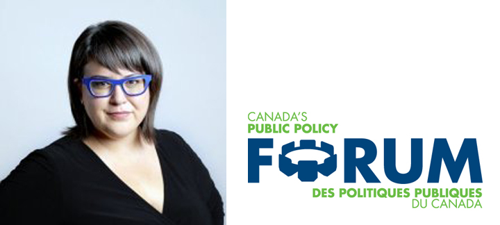 Photo of Karen Restoule and logo of Canada's Public Policy Forum