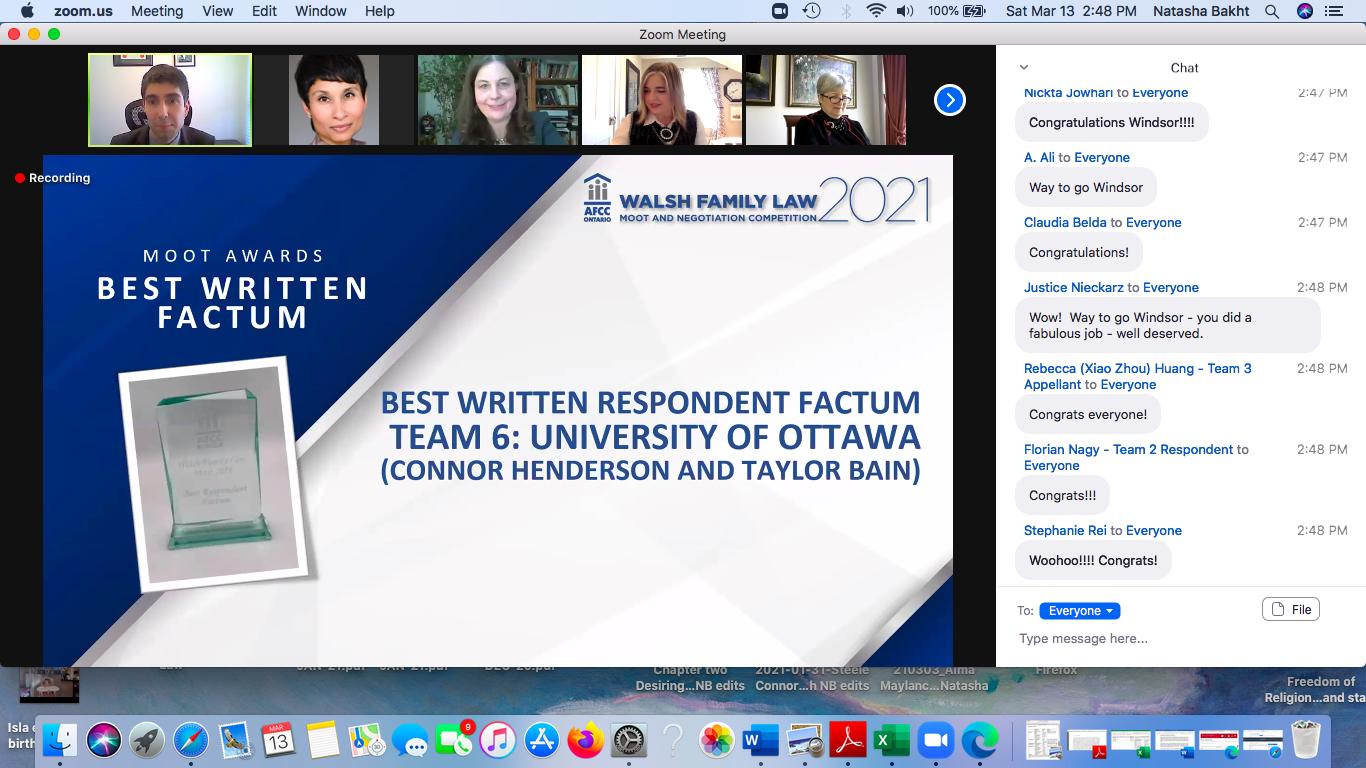 screen shot of the slide announcing the winner
