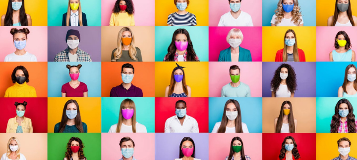 Pictures of many people wearing masks