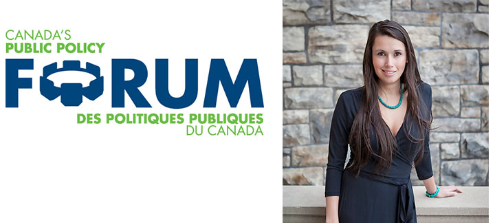 Public Policy Forum logo and photo of Caitlin Tolley