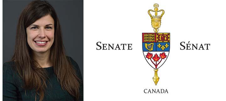 Photo d'Anne Levesque et du logo du Sénat du Canada