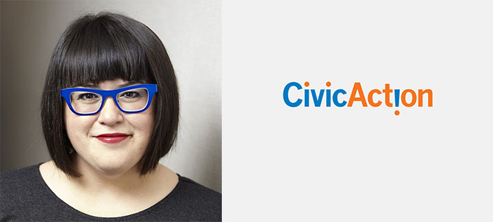 Photo of Karen Restoule and CivicAction logo